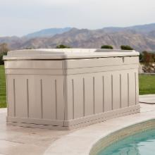  Suncast Seville Premium 129 Gallon Deck Box with Seat