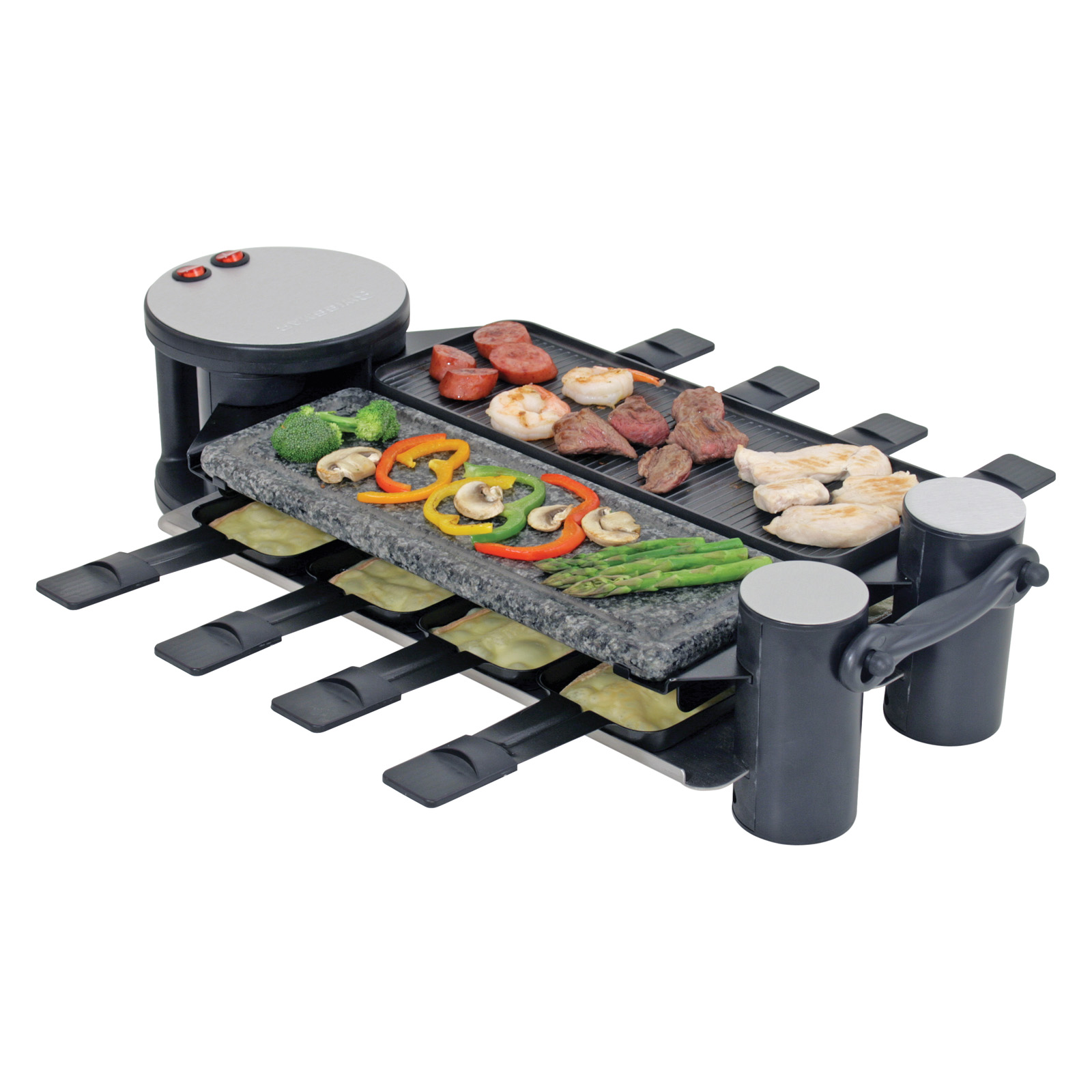 swivel raclette 8 person party grill fondue pots raclette grills at hayneedle. Black Bedroom Furniture Sets. Home Design Ideas