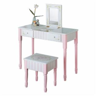 Teamson Kids Bouquet Flip Up Vanity and Stool Set with Slatted Rocking Chair