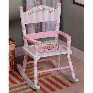 Teamson Kids Bouquet Panel Rocking Chair with Standing Mirror