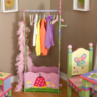 Teamson Kids Magic Garden Valet Rack and Hangers with Doll Cradle