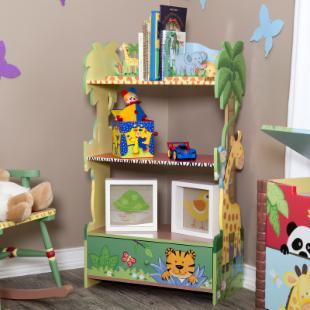 Teamson Kids Sunny Safari Book Shelf and Bookends with Step Stool