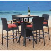  Tosh Furniture Teak and All Weather Resin Wicker Bar Set