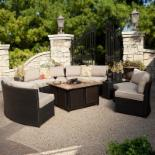 Meridian All Weather Wicker Conversation Set with Granite Fire Pit- Khaki- Seats 8