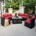  Meridian All Weather Wicker Conversation Set with Granite Fire Pit- Terracotta- Seats 8