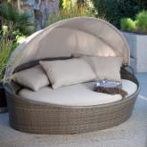  Moorea All-Weather Wicker Cabana Day Bed with Canopy