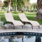  Bellagio Wicker Chaise Lounge with Cushion - Set of 2