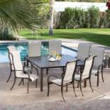  Del Rey Deluxe Padded Sling Square Aluminum Dining Set - Seats 8