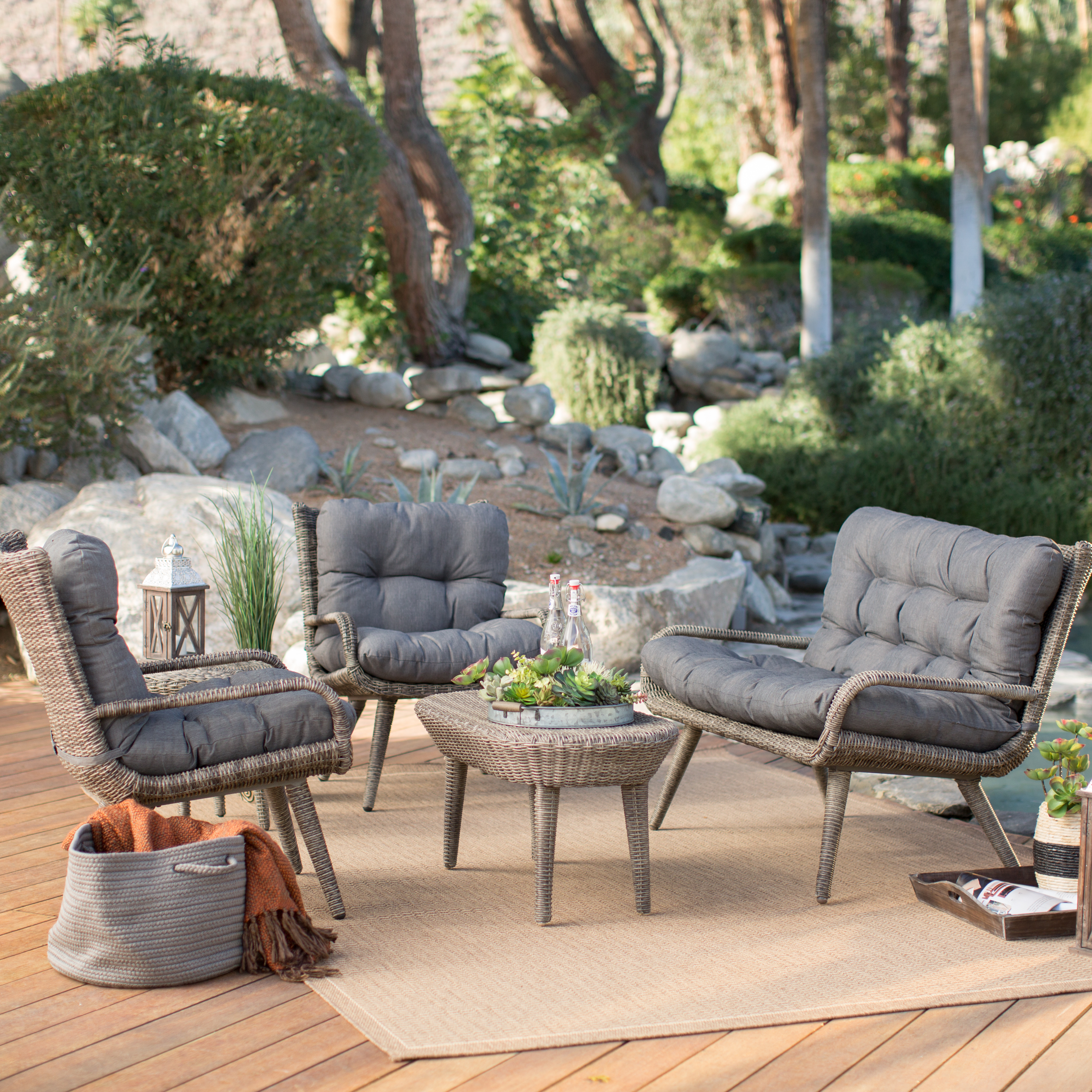 belham living rio all weather wicker conversation set seats 4 conversation patio sets at. Black Bedroom Furniture Sets. Home Design Ideas