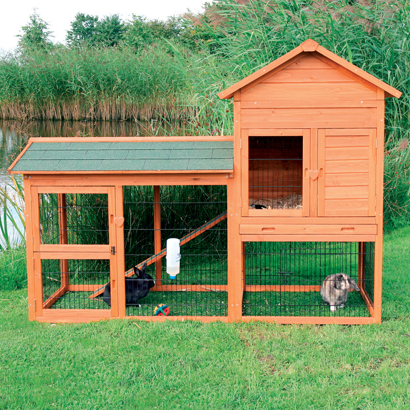 trixie rabbit hutch with outdoor run 62332 rabbit cages. Black Bedroom Furniture Sets. Home Design Ideas