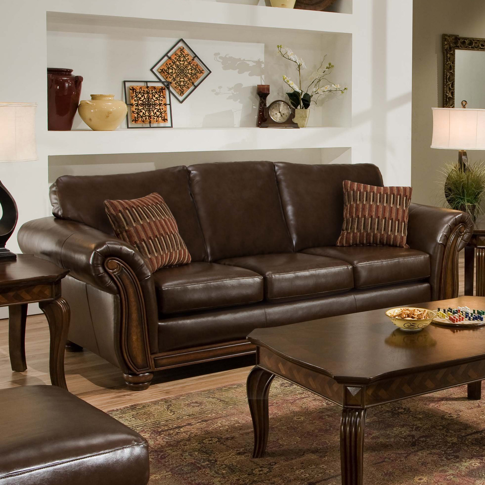 Leather Sofa For Accent Pillows: Simmons Santa Monica Vintage Leather Sofa With Accent