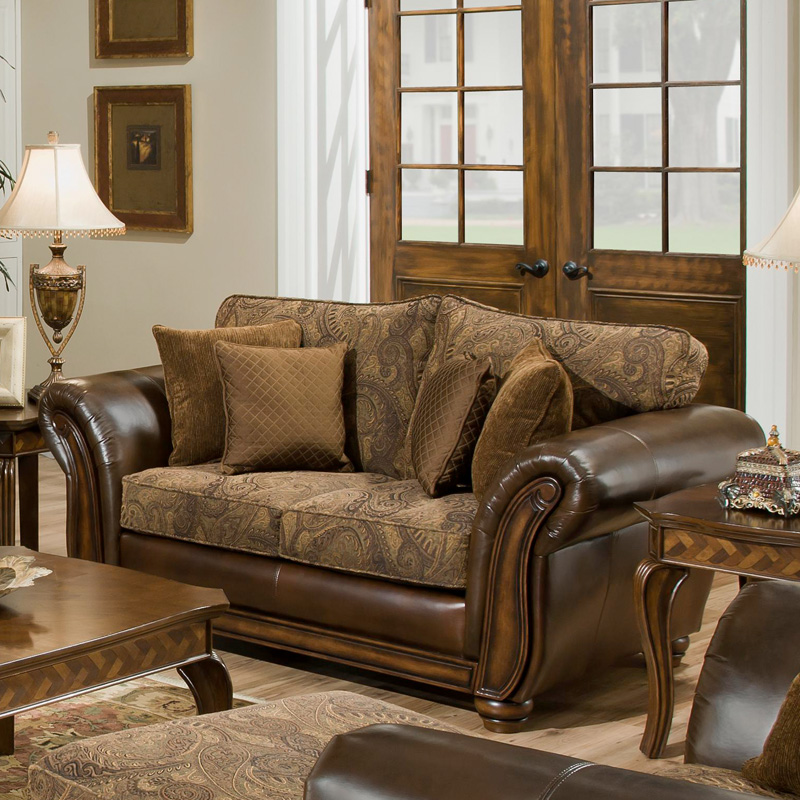 Leather Sofa For Accent Pillows: Simmons Zephyr Vintage Leather And Chenille Loveseat With
