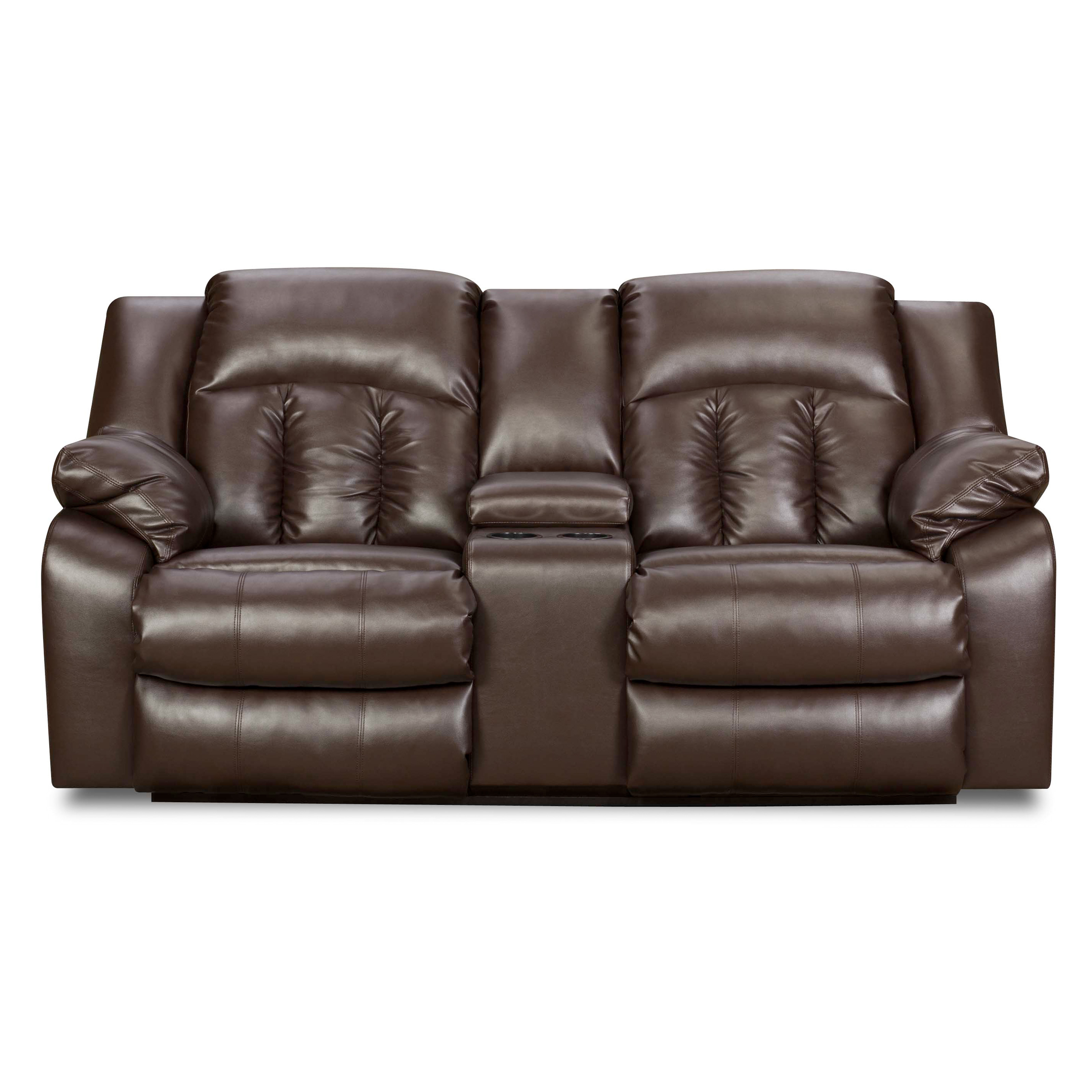 Simmons Upholstery Sebring Bonded Leather Double Motion Console Loveseat Sofas Loveseats At