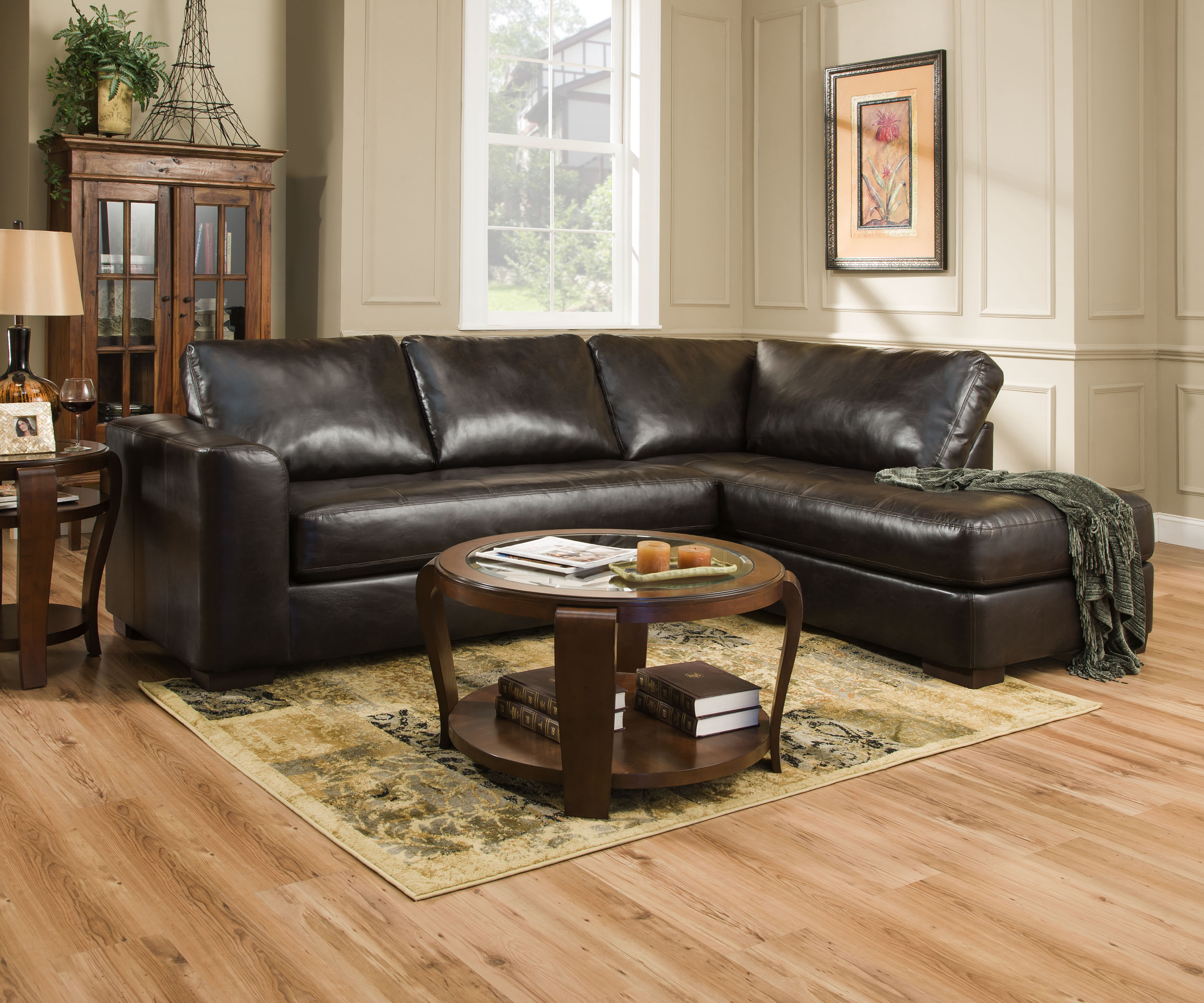 Simmons lucky espresso sectional with chaise sectional for Simmons sectional sofa with chaise