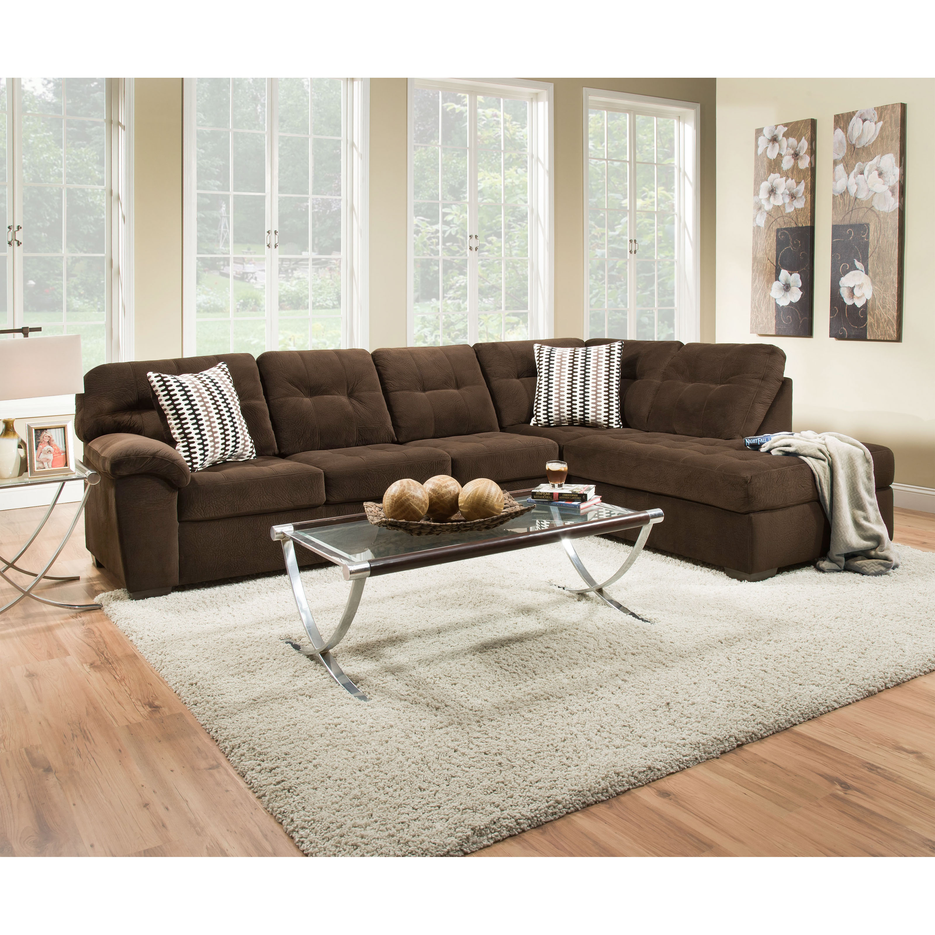 Simmons bernie godiva sofa sectional with chaise for Simmons sectional sofa with chaise