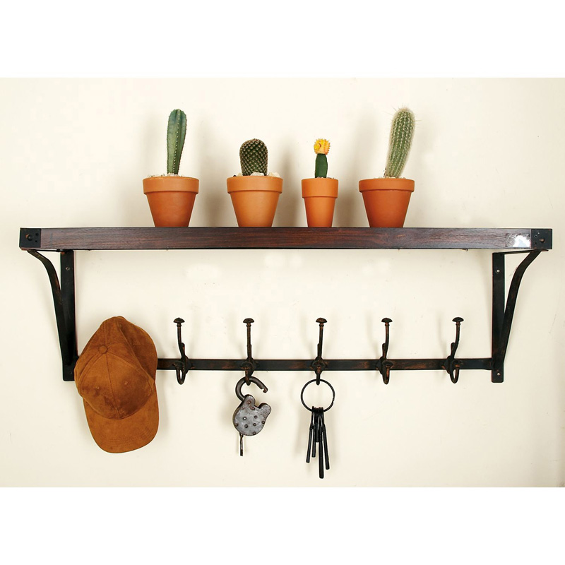 DecMode Wood And Metal Wall Shelf Hook