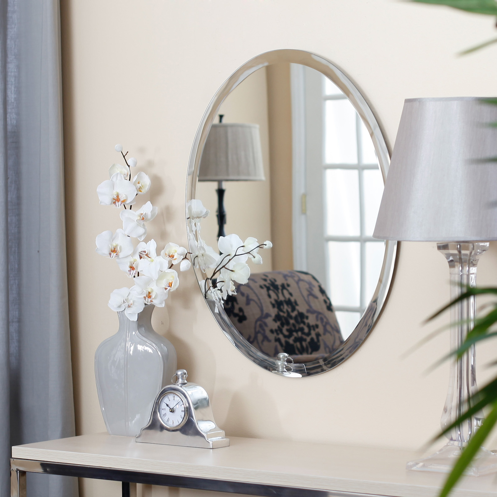 Uttermost Frameless Oval Beveled Vanity Mirror Mirrors At Hayneedle