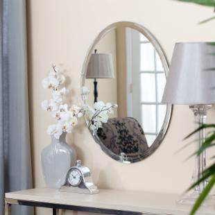 Frameless Oval Beveled Vanity Mirror - 22W x 28H in.