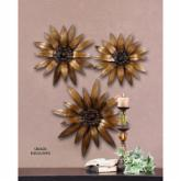  Golden Gazanias Metal Indoor/Outdoor Wall Sculputures - Set of 3