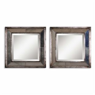 Uttermost Set of 2 Davion Squares Wall Mirrors - 18W x 18H in.