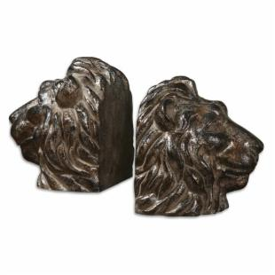Uttermost Lions Head Bookends - Set of 2