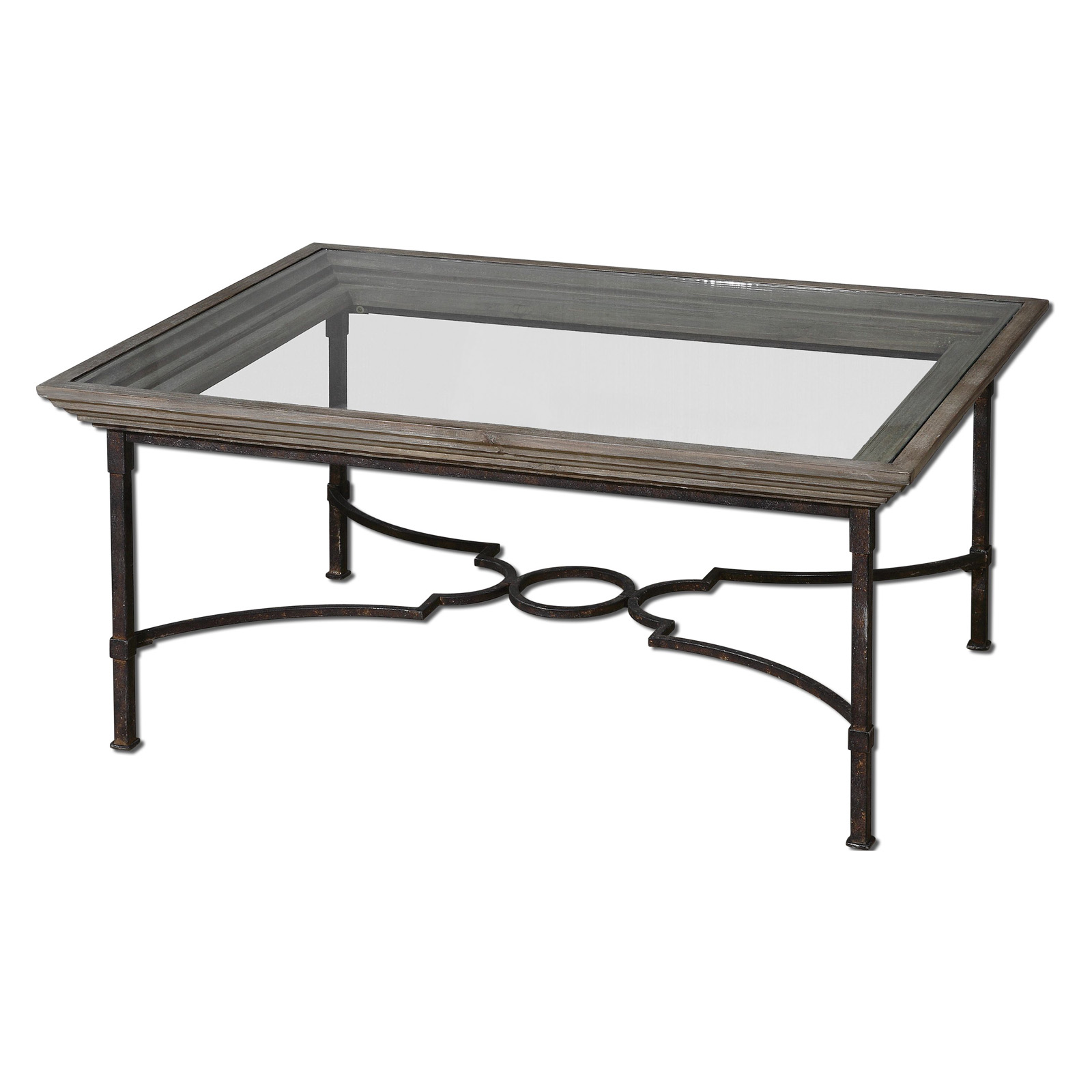 Glass Top Coffee Table With Iron Base: Uttermost Huxley Rectangle Weathered Iron And Glass Top