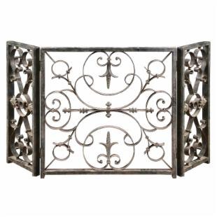 Uttermost  3 Panel Ashen Metal Fireplace Screen