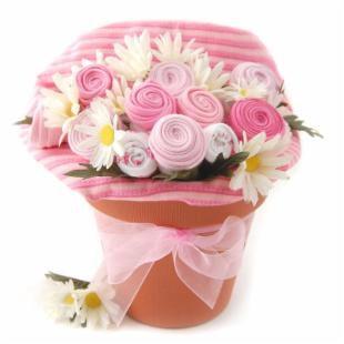 Nikki&#39;s Pink Baby Blossom Clothing Gift Bouquet