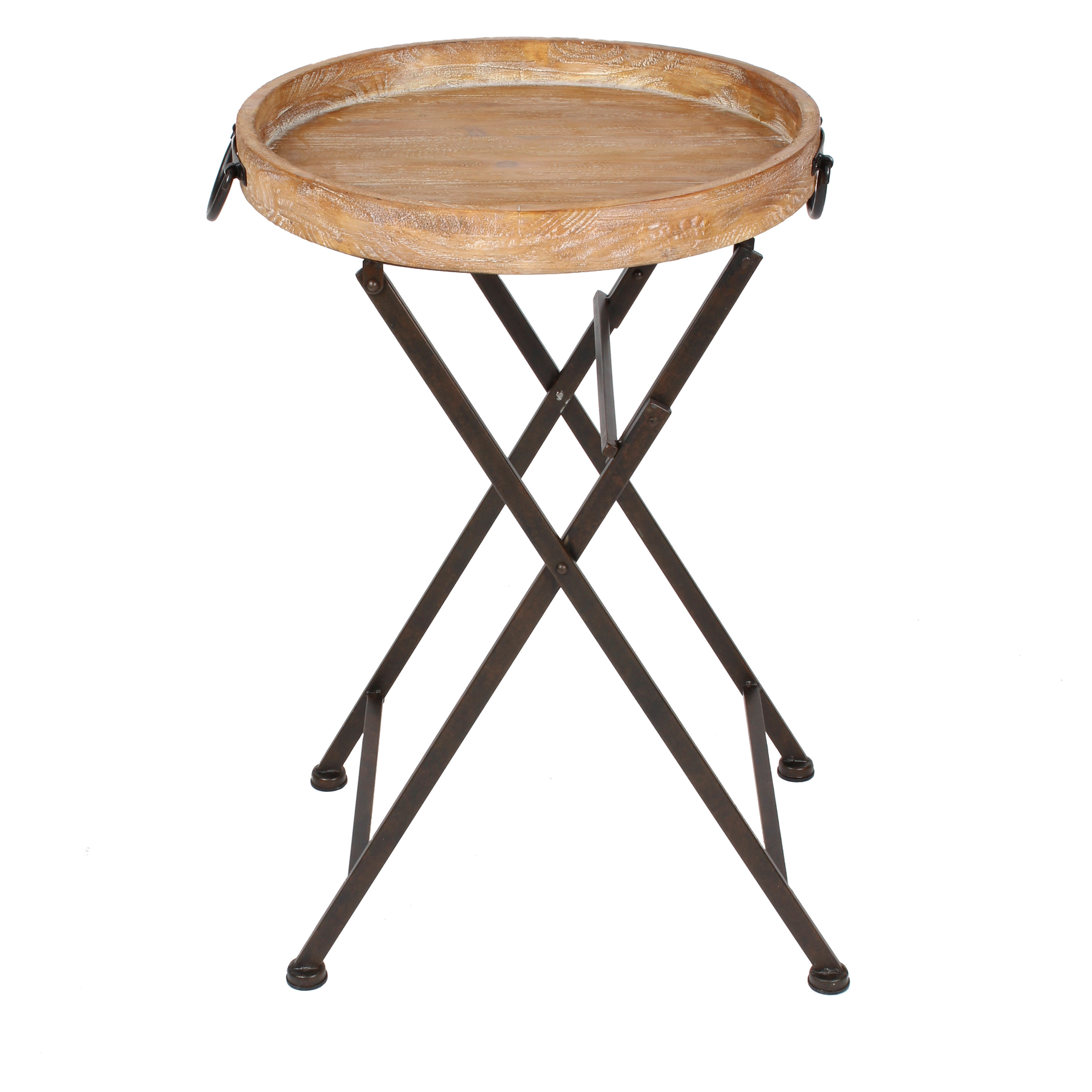 Uniek marmora round metal and wood tray table tv trays for Table pliante walmart