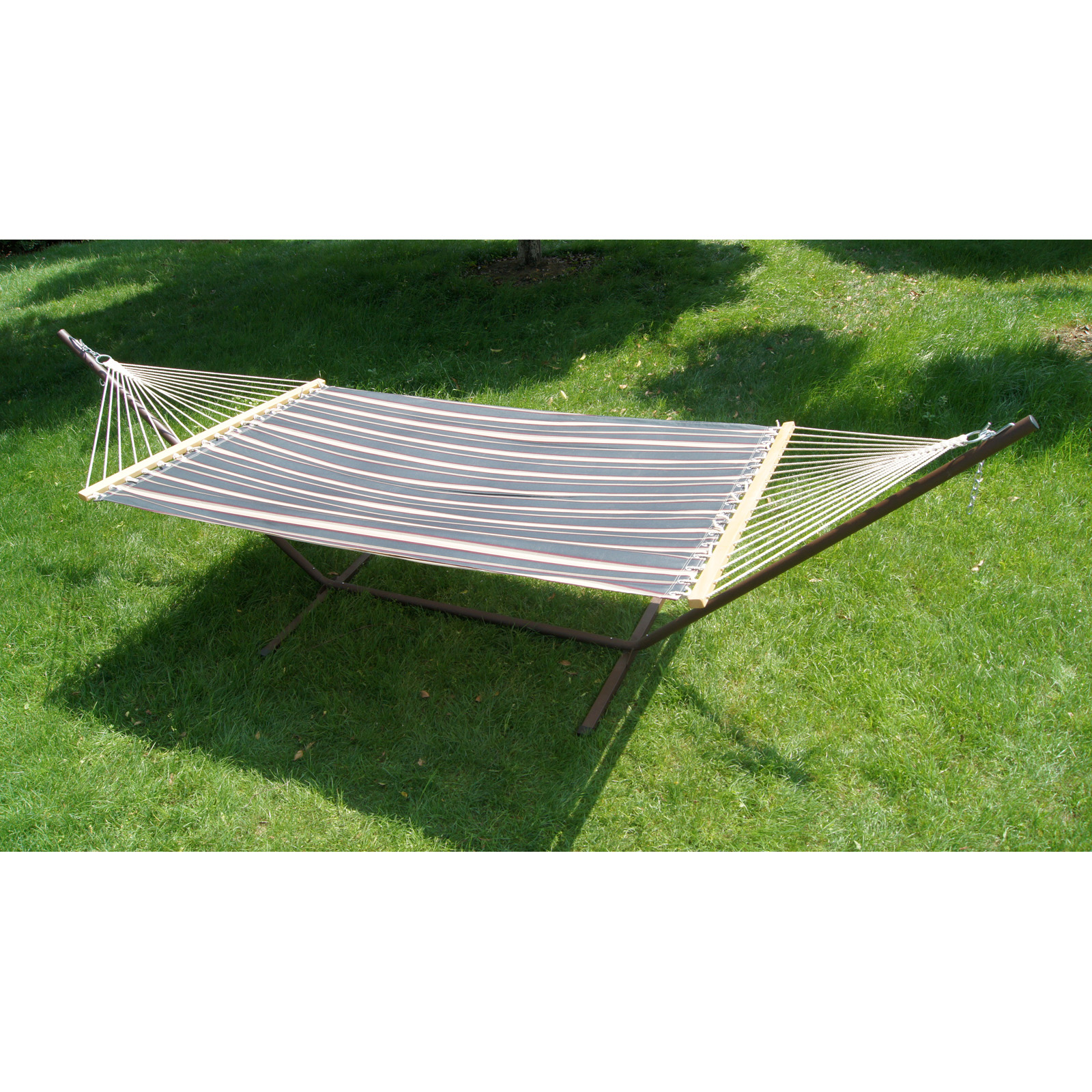 11 Ft Fern Stripe Fabric Hammock And Steel Stand Set