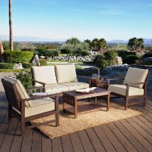 Cabos Collection Wood Lounge Patio Set - Seats 4