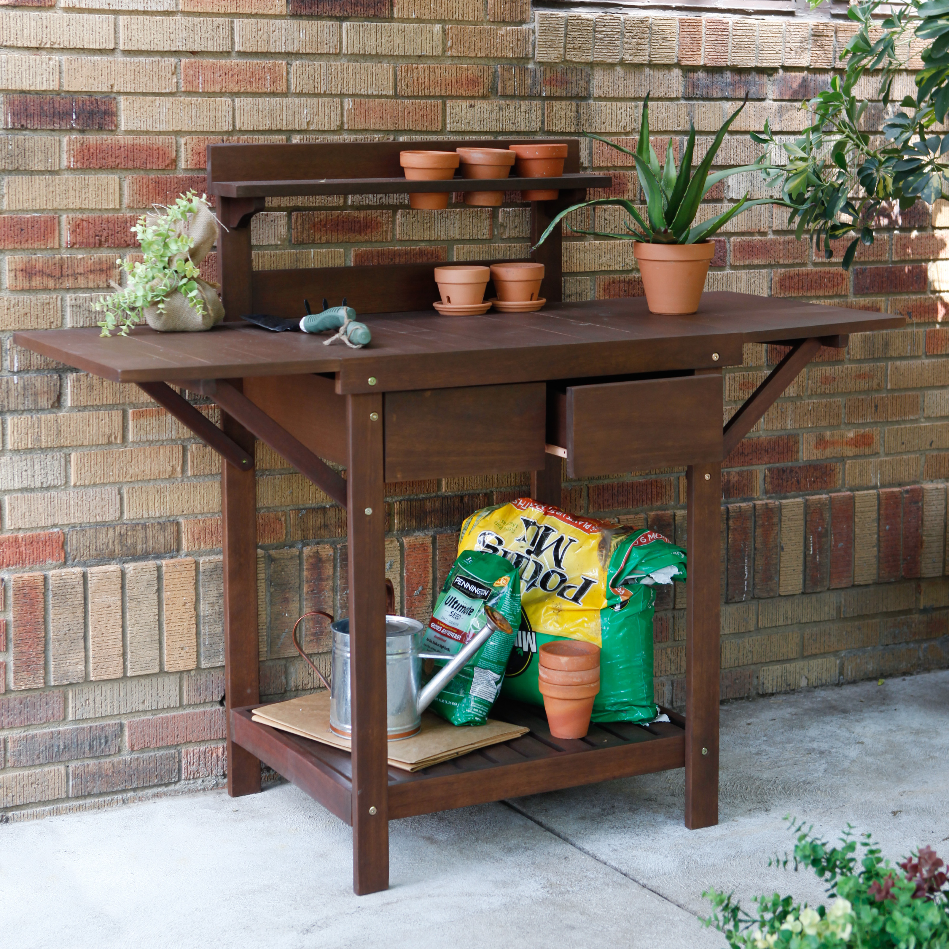Coral Coast Cabos Collection Eucalyptus Wood Potting Bench Potting Benches At Hayneedle