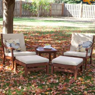 Arbor Collection Wood Lounge Chairs with Ottomans and Table Set