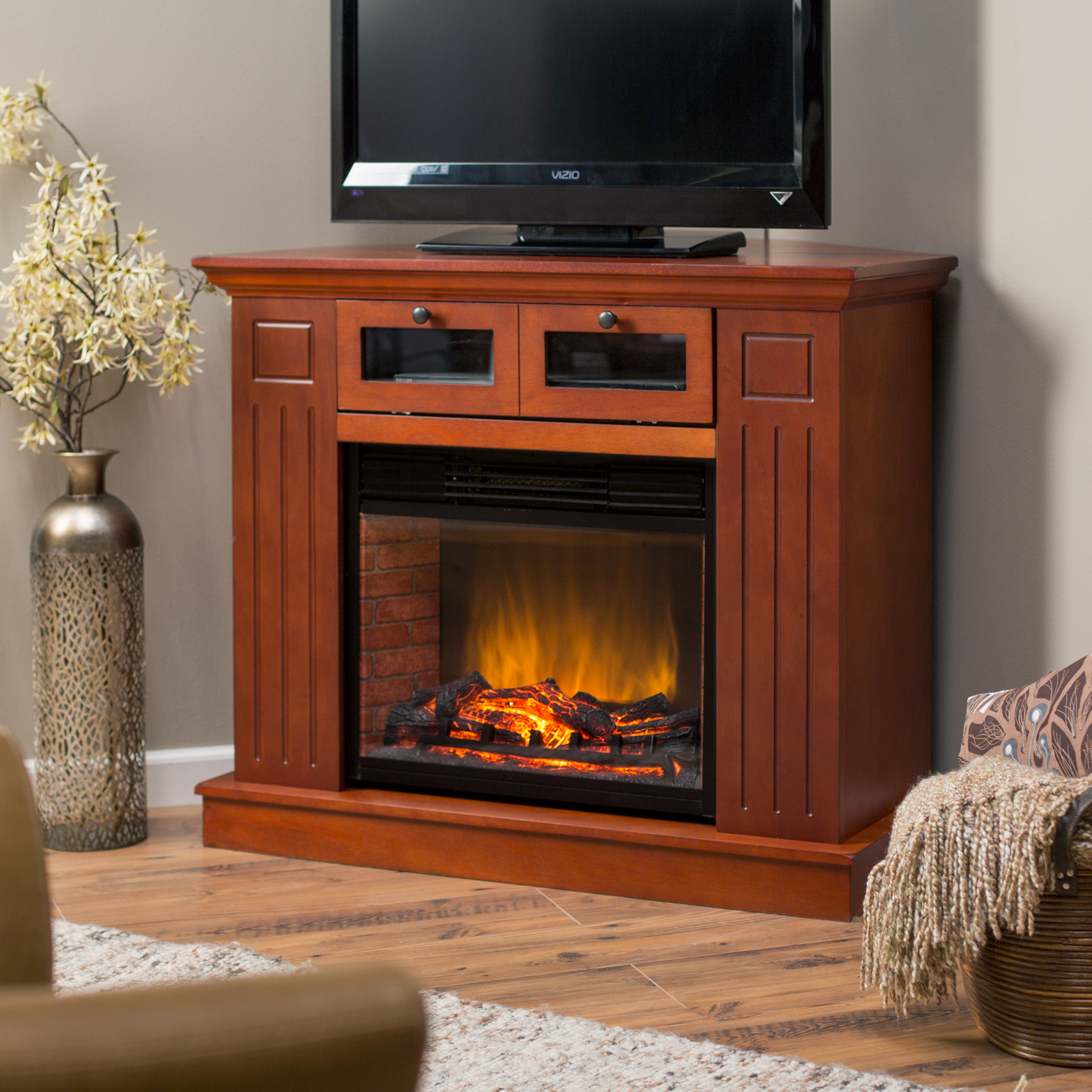 kent convertible led electric fireplace media center