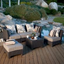  Fiji Isle All-Weather Wicker Sectional Conversation Set - Seats 4