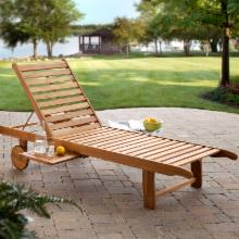  Bellora Acacia Chaise Lounger with Pullout Table
