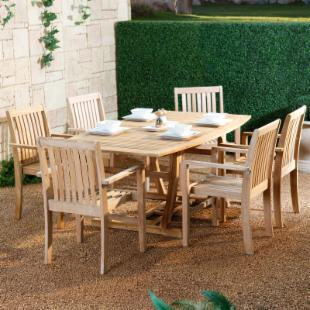 Melia Teak Patio Dining Set - Seats 6