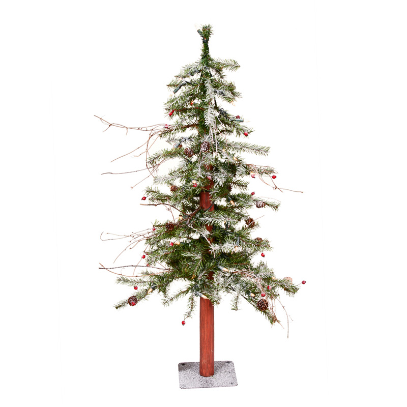 Frosted Slim Christmas Tree: 3 Ft. Frosted Cody Alpine Slim Pre-lit Christmas Tree At