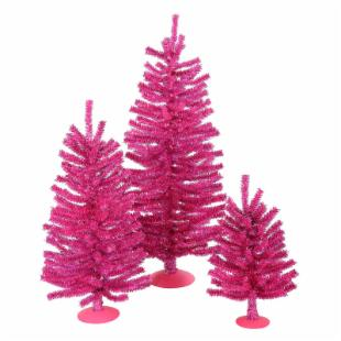 Vickerman Hot Pink Unlit Mini Tree Set