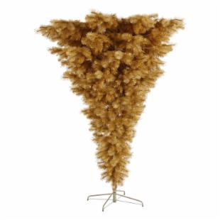 Vickerman 7 ft. Gold Glitter Upside Down Christmas Tree