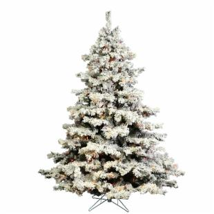 Vickerman Flocked Alaskan Multi Pre-lit Christmas Tree - Mini Lights