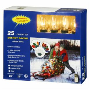 Vickerman 25 Light C9 Clear Christmas Light String
