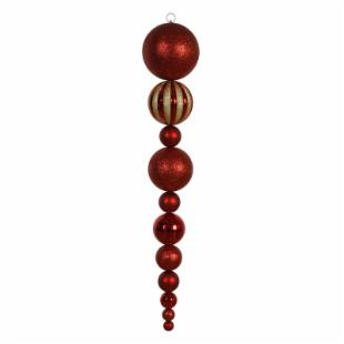 Vickerman 55 in. Red Shiny and Matte Ball Drop