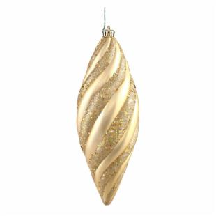 Vickerman 12 in. Gold Spiral Matte and Glitter - Set of 3