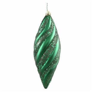 Vickerman 12 in. Emerald Spiral Matte and Glitter - Set of 3