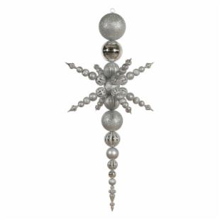 Vickerman 76 in. Silver 3 Finish Snowflake Finial