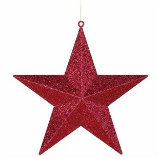 Vickerman 24 in. Red Glitter Star