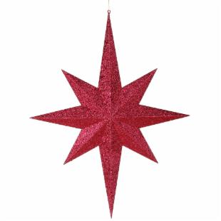 Vickerman 31.5 in. Red Glitter 8 Point Star