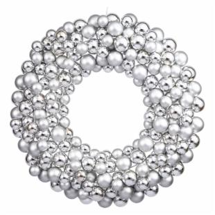 Vickerman 24 in. Silver Colored Ball Wreath