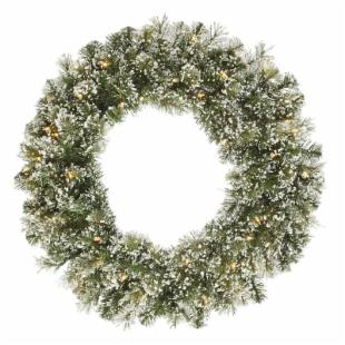 Vickerman 30 in. Pre-Lit Frosted Cashmere Wreath